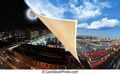 prophet's, meczet, dzień, noc