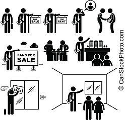 propiedad, agente, bienes raíces, cliente