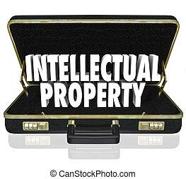 propiedad intelectual, 3d, palabras, en, un, cartera negra cuero, a, ilustrar, un, empresa / negocio, ofrecimiento, su, copyrighted, trademarked, o, patentado, diseños, o, productos, en venta, o, licencia
