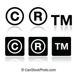 propiedad literaria, vector, marca registrada, iconos
