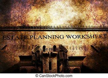 propiedad, plan, worksheet, en, vendimia, máquina de escribir