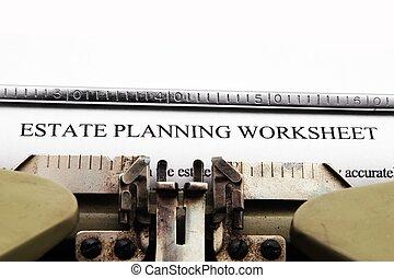 propiedad, plan, worksheet