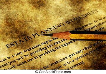propiedad, planificación, worksheet, grunge, concepto