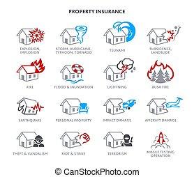 propiedad, seguro, iconos