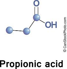 propionic, ácido, molécula