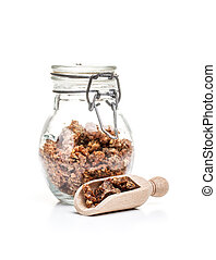 Propolis granule in glass jar