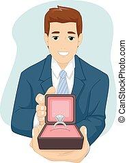 proponha, anel, obrigação, homem