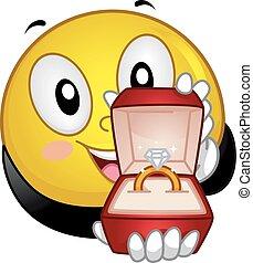 proponha, anel, smiley, obrigação