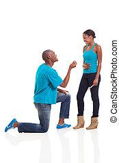 proponujący, człowiek, ona, afrykanin, kiedy, brzemienny, ...