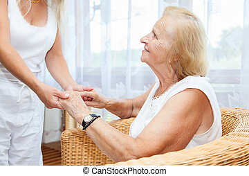 proporcionando, cuidado, idoso