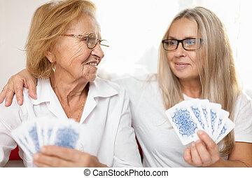 proporcionando, cuidado idoso