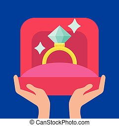 Proposal marriage, vector illustration. Man is holding in hand an open box with a wedding ring.