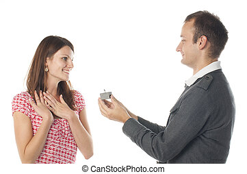 Proposal scene with happy woman and man.