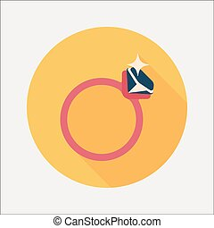 Propose diamond ring flat icon with long shadow, eps10