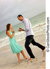 proposer, couple, plage, feindre