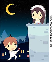 proposer, stand, complet, castle., mariage, amour, mignon, ...