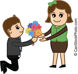 Proposing a Girl with Flower Bunch