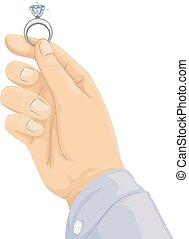 proposta, anel diamante, mão