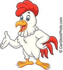 proposta, cartone animato, gallo