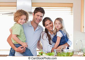 proposta, famiglia, felice