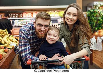 proposta, famiglia, supermercato, felice