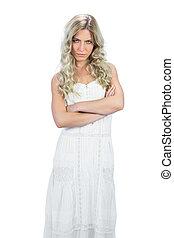 proposta, modello, attraente, accigliato, vestire, bianco