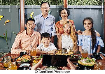 proposta, vietnamita, foto, famiglia, grande