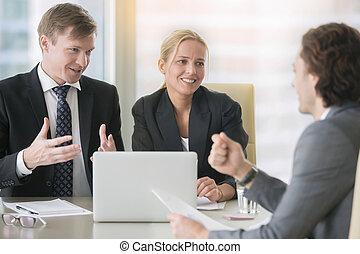 propozycja, dyskutując, businesspeople