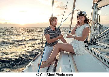 propozycja, jacht, romantyk, scena