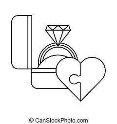 propozycja, zagadka, romansowe serce, ring