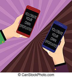 propre, créateur, chances, photo, vide, ton, destin, créer, deux, écriture, note, tenue, opportunities., vous, sunburst., être, smartphone, business, projection, hu, mains, analyse, showcasing