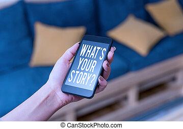 propre, début, quel, note, utilisation, mon, showcasing, demandé, intérieur, voyage, business, home., femme, question., projection, labourer, photo, maintenant, histoire, ton, écriture, quelqu'un, technologique, appareils, s, smartphone, être, sur