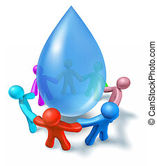 propre, eau potable, symbole