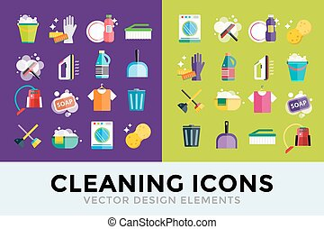 propre, ensemble, nettoyage, service, icônes