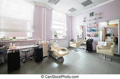 propre, européen, salon cheveux