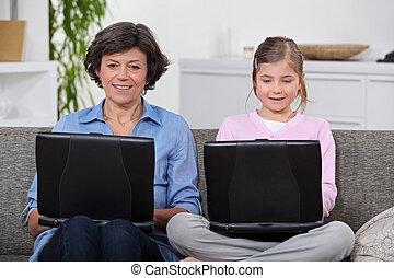 propre, fille, portables, leur, avoir, mère