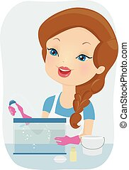 propre, girl, aquarium, illustration, outils