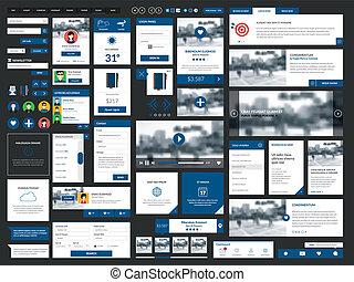 propre, &, moderne, graphique, interface utilisateur, set.