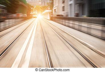 propre, route, de, ville, ville rapide, trafic