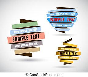 propre, text., ensemble, endroit, papiers, origami, ton