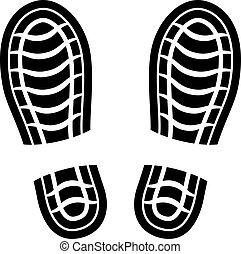 propre, vecteur, chaussure, estampiller