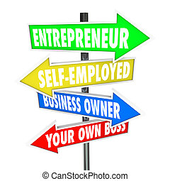 propres affaires, soi, patron, entrepreneur, signes, ...