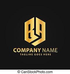 propriété, ba, bouclier, or, vecteur, lettre, compagnie, moderne, vrai, résumé, logos, 3d, conception, illustration