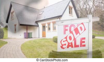 propriété, beau, vrai, vendu, vente, animation, maison, numérique, 4k, maison, nouveau, signe