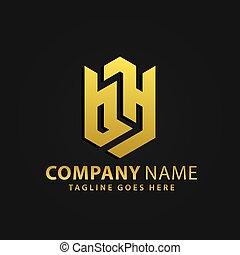 propriété, bouclier, bh, vecteur, or, lettre, compagnie, moderne, vrai, résumé, logos, 3d, conception, illustration