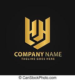 propriété, bouclier, or, vecteur, compagnie, moderne, vrai, résumé, logos, 3d, conception, illustration