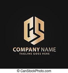 propriété, bouclier, or, vecteur, lettre, compagnie, moderne, 3d, vrai, résumé, logos, conception, cs, illustration