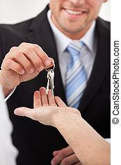 propriété, donner, maison, agent, clés, homme