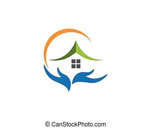 propriété, logo, construction, conception