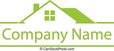 propriété, logo, maison, vrai